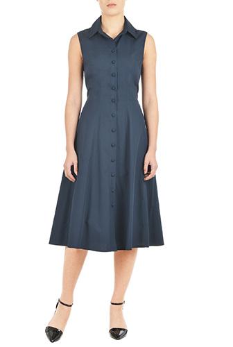 eShakti Womens Cotton poplin A-line shirtdress $64.95 AT vintagedancer.com