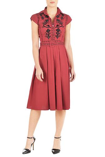 eShakti Womens Folk embellished cotton poplin dress $86.95 AT vintagedancer.com