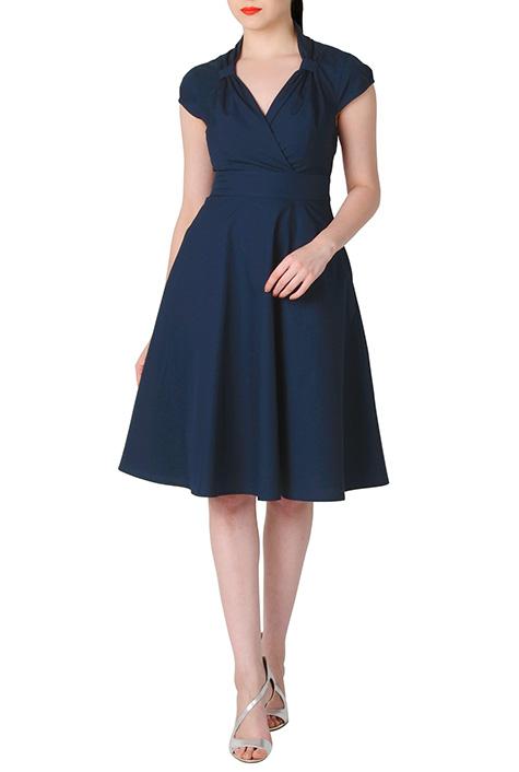 eShakti Womens Faux wrap cotton poplin dress $64.95 AT vintagedancer.com