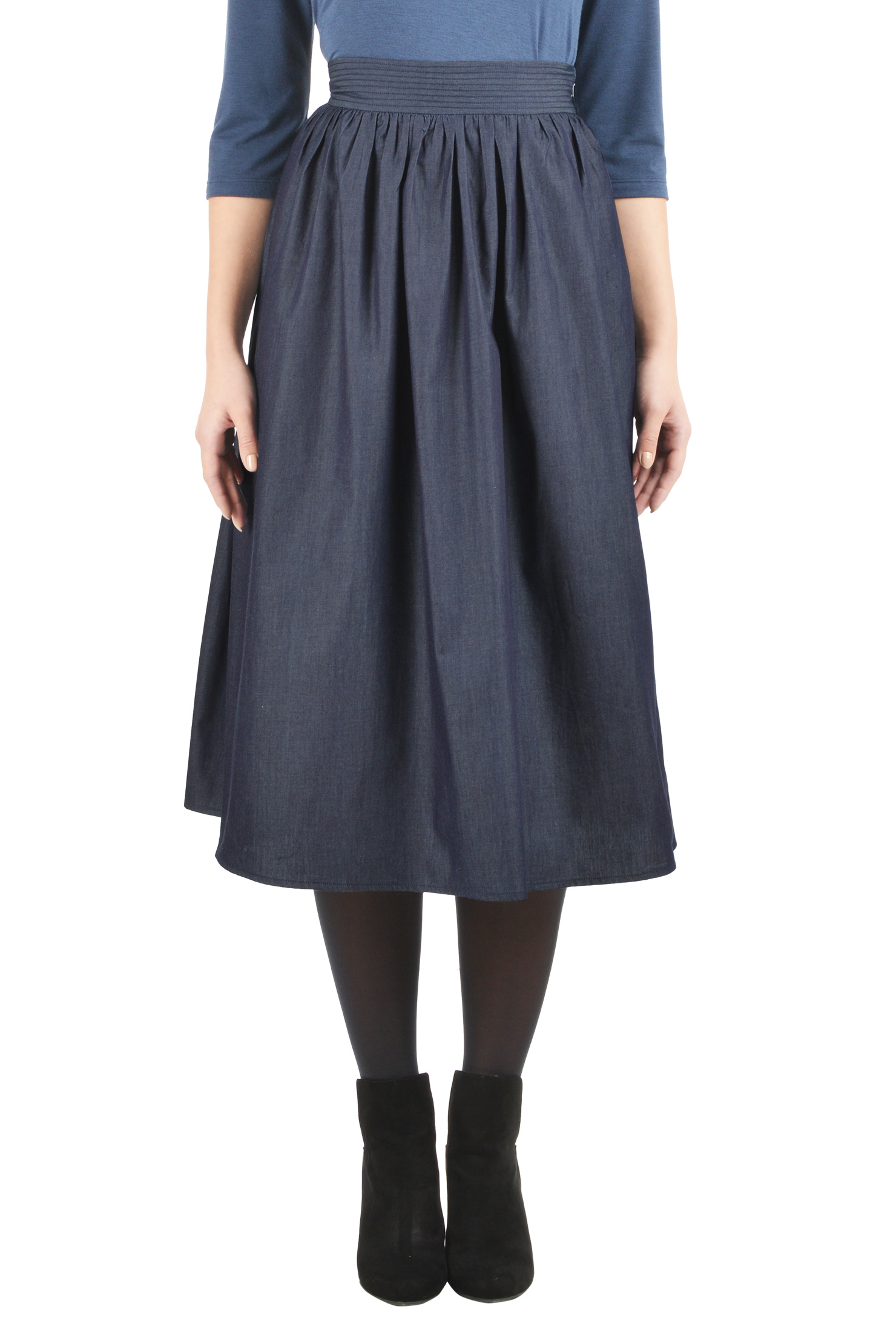 chambray denim skirts cotton chambray ruched pleats