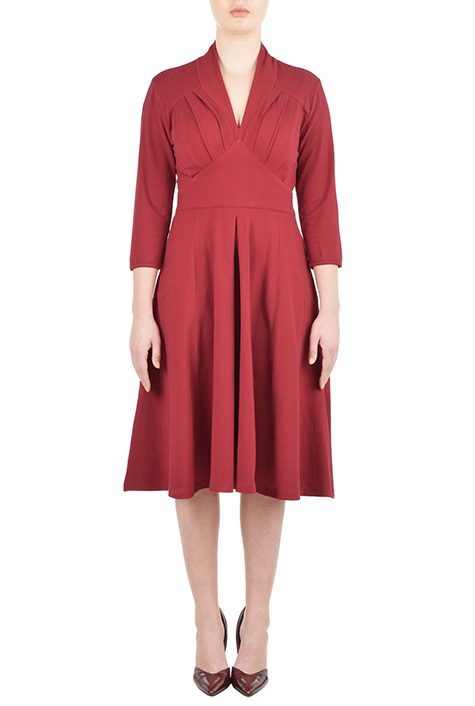 eShakti Womens Feminine pleated cotton knit dress $69.95 AT vintagedancer.com