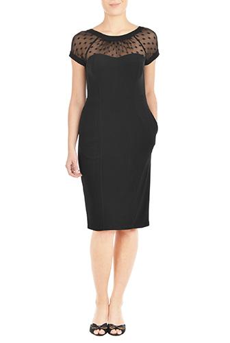 eShakti Womens Illusion yoke ponte sheath dress $74.95 AT vintagedancer.com