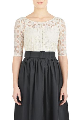 eShakti Womens Graphic lace front placket blouse $44.95 AT vintagedancer.com