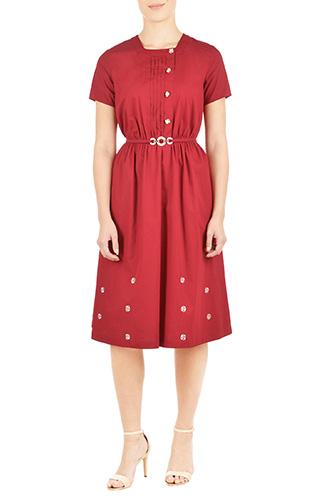 eShakti Womens Pleat front belted poplin shirtdress $59.95 AT vintagedancer.com