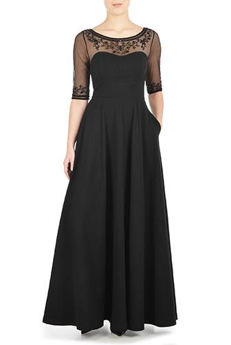 Modern Vintage Evening Dresses and Formal Evening Gowns eShakti Womens Illusion yoke corset style jersey dress $99.95 AT vintagedancer.com