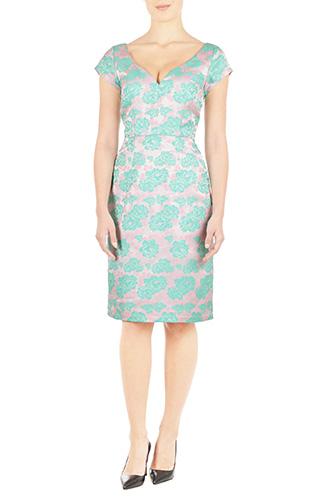 eShakti Womens Floral lurex jacquard sheath dress $69.95 AT vintagedancer.com