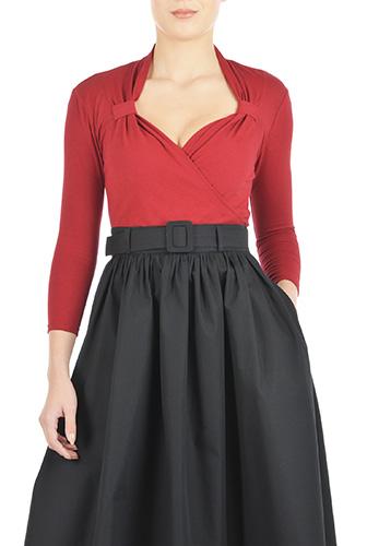 eShakti Womens Vintage style cotton knit top $34.95 AT vintagedancer.com