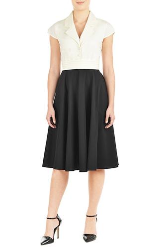 eShakti Womens Pleat waist poplin shirtdress $64.95 AT vintagedancer.com