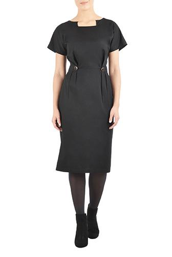 eShakti Womens Notch neck button tab poplin dress $44.95 AT vintagedancer.com
