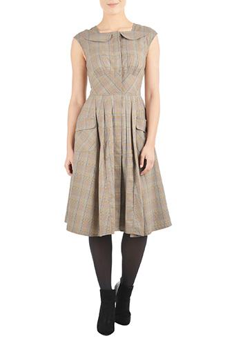 1950s Style Dresses Houndstooth plaid fit-and-flare dress $89.95 AT vintagedancer.com