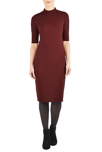 eShakti Womens Turtleneck ponte knit dress $69.95 AT vintagedancer.com