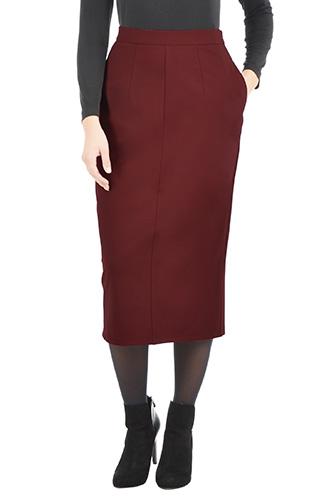 eShakti Womens Ponte knit midi pencil skirt $59.95 AT vintagedancer.com