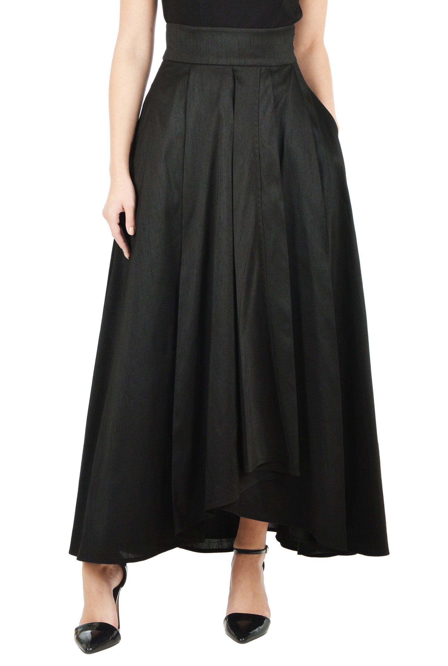 eShakti Women's Faux wrap dupion maxi skirt