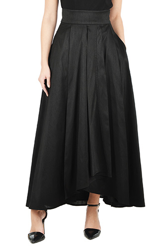 eShakti Womens Faux wrap dupione maxi skirt $64.95 AT vintagedancer.com