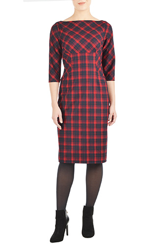 eShakti Womens Plaid empire seamed dress $74.95 AT vintagedancer.com