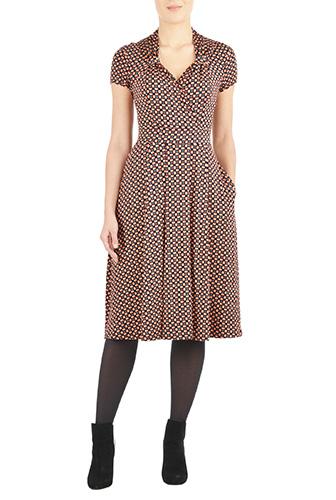 eShakti Womens Vintage style polka dot knit dress $74.95 AT vintagedancer.com
