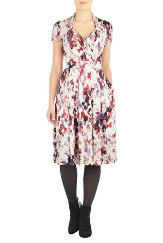 eShakti Womens Vintage style abstract floral knit dress $74.95 AT vintagedancer.com