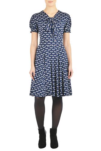 eShakti Womens Tie-neck swan print knit dress $79.95 AT vintagedancer.com