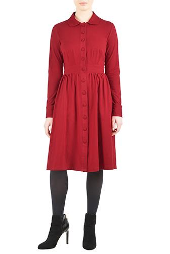 eShakti Womens Cotton jersey knit retro shirtdress $69.95 AT vintagedancer.com