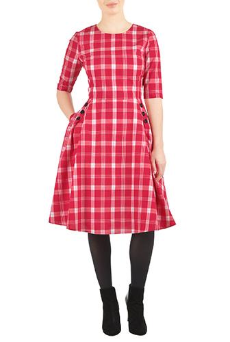 eShakti Womens Cotton check buttoned A-line dress $54.95 AT vintagedancer.com
