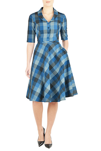 eShakti Womens Shawl collar cotton check shirtdress $64.95 AT vintagedancer.com