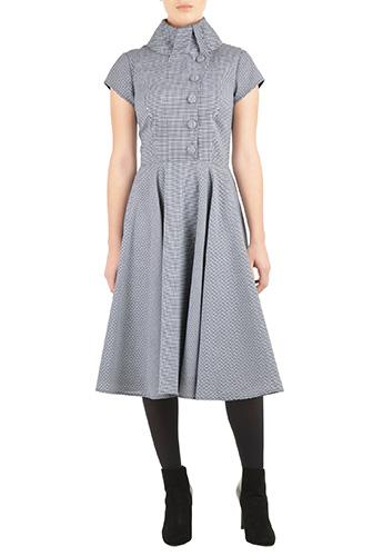 eShakti Womens High collar houndstooth cotton dress $79.95 AT vintagedancer.com