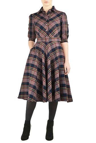 eShakti Womens Flannel check belted shirtdress $79.95 AT vintagedancer.com