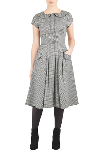 eShakti Womens Flap neck houndstooth twill dress $94.95 AT vintagedancer.com