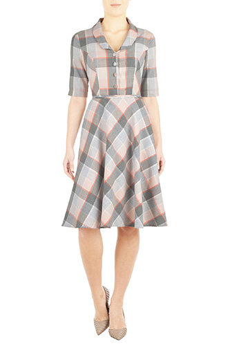 eShakti Womens Shawl collar cotton check shirtdress $59.95 AT vintagedancer.com