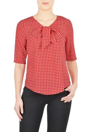 eShakti Womens Tie neck polka dot crepe blouse $34.95 AT vintagedancer.com