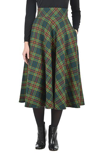 eShakti Womens Cotton flannel plaid full skirt $64.95 AT vintagedancer.com
