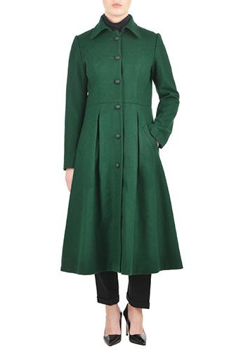 eShakti Womens Felted wool blend fit-and-flare coat $129.95 AT vintagedancer.com