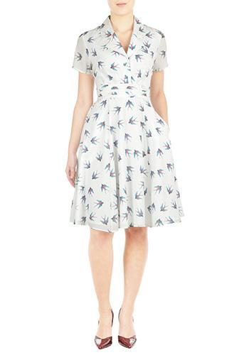 eShakti Womens Pleat waist bird crepe shirtdress $74.95 AT vintagedancer.com