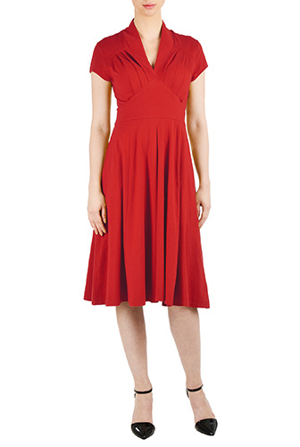 Feminine pleated cotton knit dress $69.95 AT vintagedancer.com