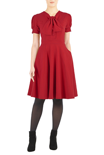 eShakti Womens Tie-neck cotton knit dress $54.95 AT vintagedancer.com