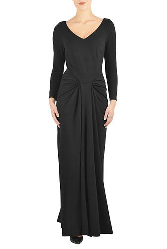 eShakti Womens Pleat front luxe knit maxi dress $99.95 AT vintagedancer.com