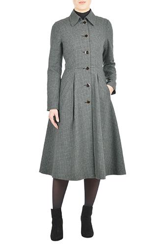 eShakti Womens Wool blend check fit-and-flare coat $119.95 AT vintagedancer.com