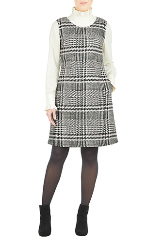 Ruffle neck houndstooth shift dress $84.95 AT vintagedancer.com