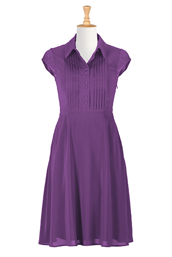 Pintuck pleat crepe shirtdress $89.95 AT vintagedancer.com