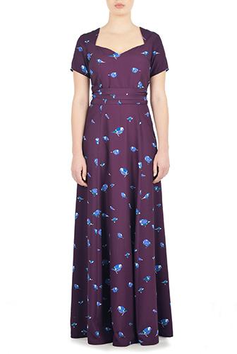 eShakti Womens Bird print sash tie maxi dress $99.95 AT vintagedancer.com