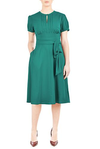 Puff sleeve sash waist crepe dress $64.95 AT vintagedancer.com