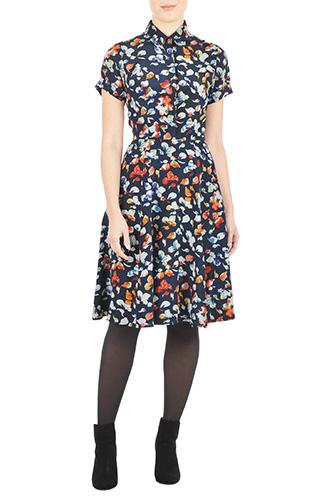 eShakti Womens Butterfly print crepe shirtdress $89.95 AT vintagedancer.com