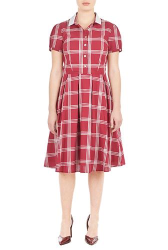eShakti Womens Contrast collar windowpane check shirtdress $79.95 AT vintagedancer.com