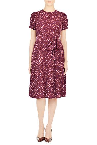eShakti Womens Puff sleeve polka dot crepe dress $79.95 AT vintagedancer.com