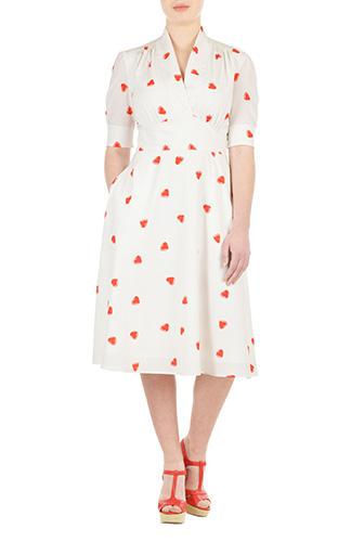 eShakti Womens Feminine pleated heart print dress $89.95 AT vintagedancer.com