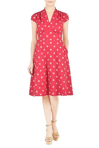 eShakti Womens Feminine pleated dot print dress $74.95 AT vintagedancer.com