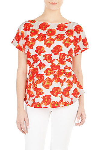 eShakti Womens Floral print sash waist peplum blouse $59.95 AT vintagedancer.com