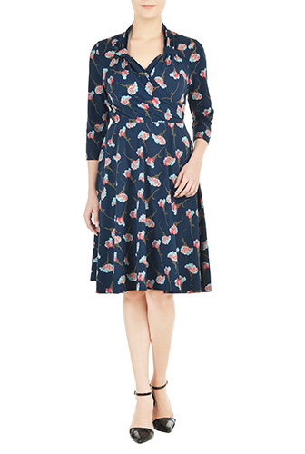 eShakti Womens Vintage style surplice floral knit dress $79.95 AT vintagedancer.com