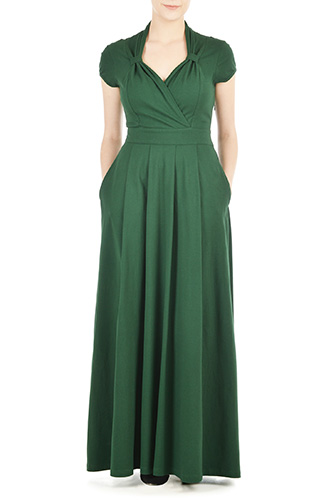 eShakti Womens Vintage style cotton knit maxi dress $84.95 AT vintagedancer.com