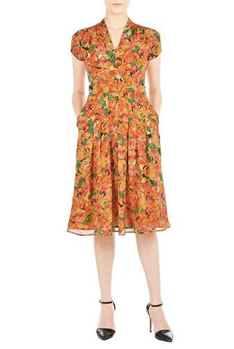 eShakti Womens Feminine painted floral chiffon dress $89.95 AT vintagedancer.com